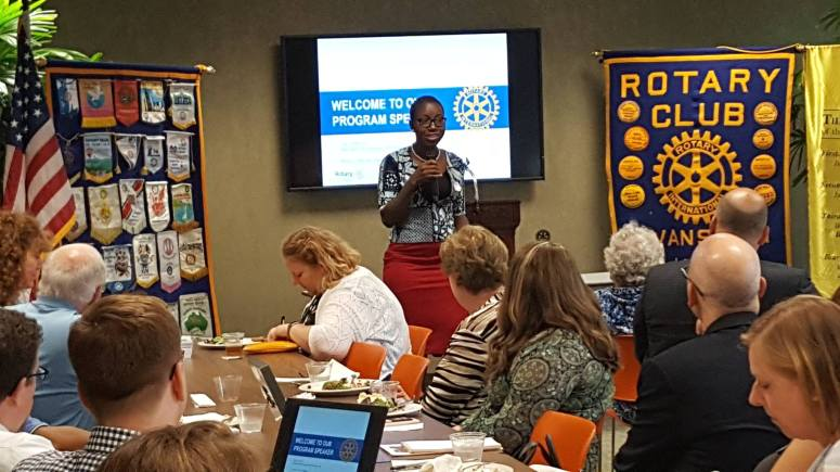 Ama Duncan speaking at the Rotary Club of Evanston